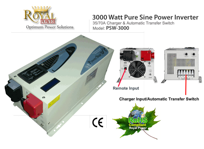 Pure Sine 3000 Watt DCAC Power Inverters Charger 12V To 120V